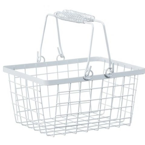 Wire Shopping Basket Storage White